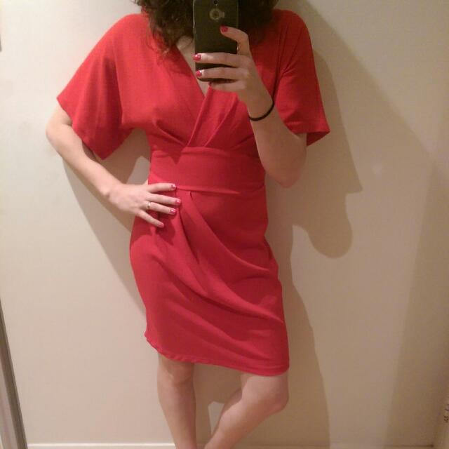 Obi Style Bright Red Dress - Size 10