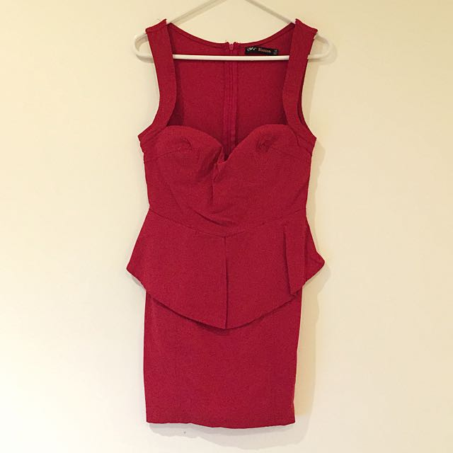 Peplum Bustier-style Dress (red)