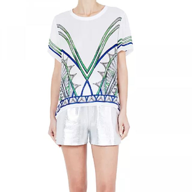 Sass & Bide Three Lovers Printed Silk T Size 42-12 BNWT