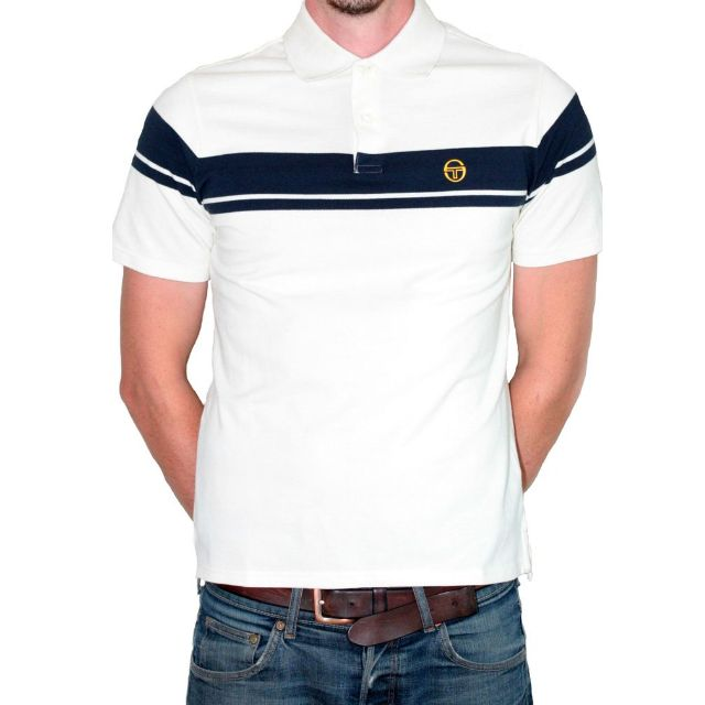 Sergio Tacchini Young Line Polo Cream/Navy Sizes Medium & Large available