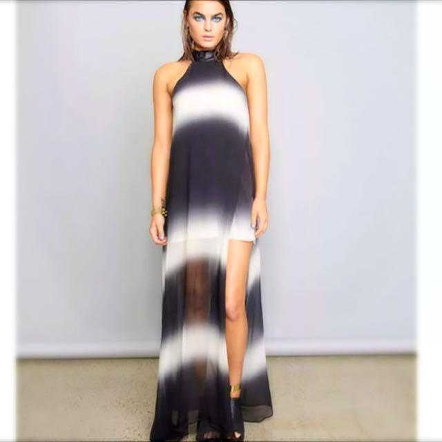 Shakuhachi Ombre Overlay Maxi Dress Size 8