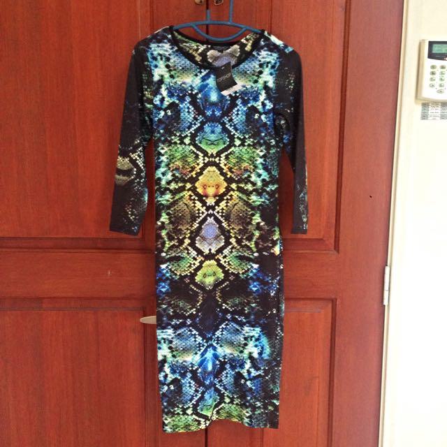 Topshop Snake Print Midi Dress