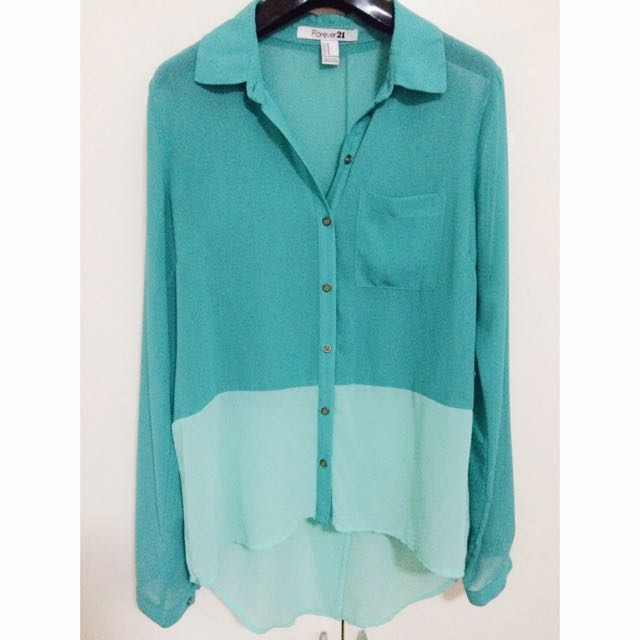 dcbad7f6142d Turquoise Sheer Top (Forever 21)