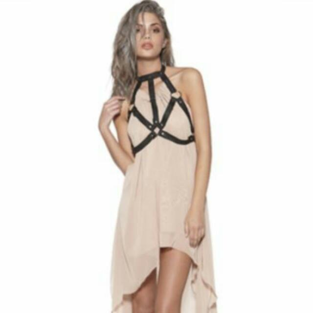 UNIF Harness Dress XS Rare And Discontinued Retail $178 US As New Tan/Black