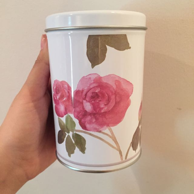 White Tin With Roses And A Smaller Tin That Fits Inside