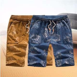 兩色-壓痕仿舊休閒短褲 海灘褲 (方口袋)