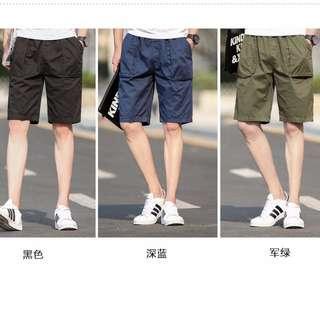 六色-素色方口袋休閒短褲