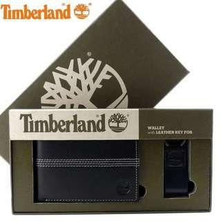 Timberland黑色零錢袋皮夾禮盒組