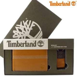 Timberland駝色附零錢袋皮夾禮盒組