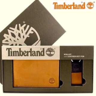 Timberland駝橘磨砂麂皮零錢袋皮夾禮盒組