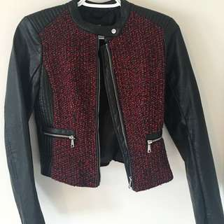 Black Leather Jacket With Red And Black Weave Detail