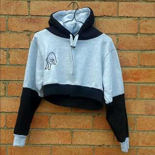 CUSTOM ICH PIG TWO-TONE CROPPED HOODIE