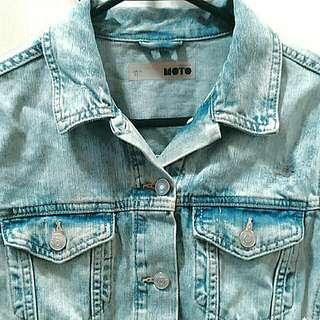 Topshop MOTO Distressed Denim jacket