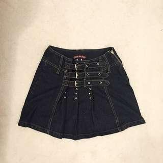 Buckled Pleated Jean Skirt