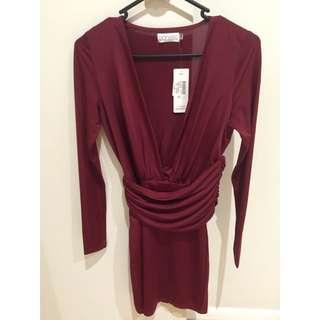 Long Sleeve Short Dress (Maroon)