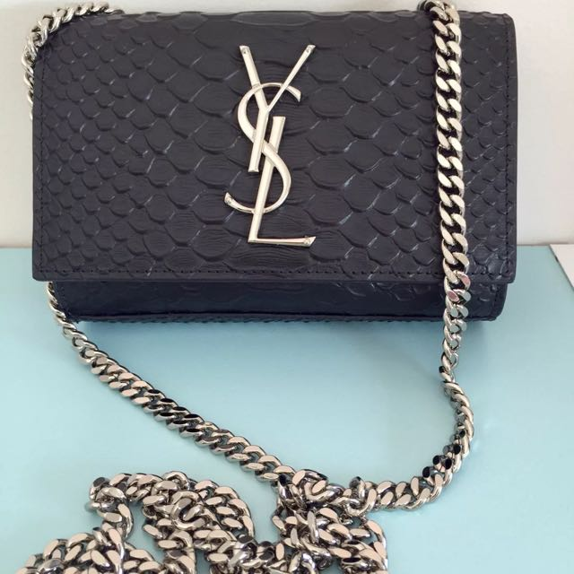 100% Authentic YSL Saint Laurent Python Embossed Leather Small Shoulder Bag
