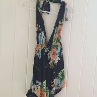 Tie Up Backless Playsuit Size 6-8