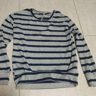 Grey And Blue Stripped Long Sleeve Top
