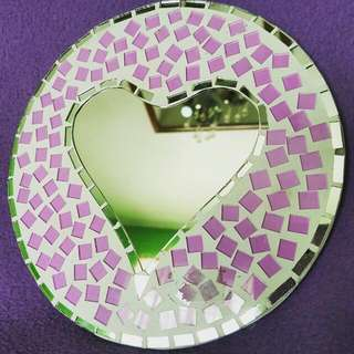 Round Plate with heart-shaped mirror and purple shattered glass accents bought from Bali, Indonesia