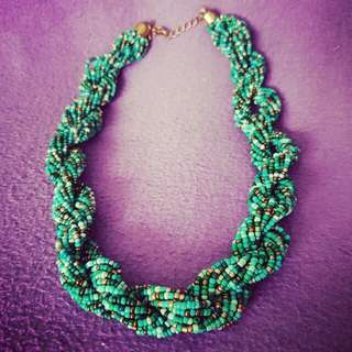 Bead Necklace in shades of green, gold and bronze (used once)