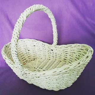 Rattan White Gloss-Painted Baskets (2pcs Available)