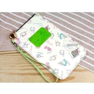 ALL.MY GOD贈掛繩 迪士尼正版愛麗絲夢遊仙境系列手機掛包-愛麗絲直式款(粉紫) 手機包 手機袋 零錢包 萬用包 手拿包