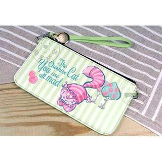 ALL.MY GOD贈掛繩 迪士尼正版愛麗絲夢遊仙境系列手機掛包-妙妙貓款(粉綠款) 手機包 手機袋 零錢包 萬用包 手拿包