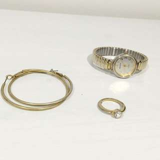 Gold Plated Sterling Silver Ring, Watch And Hoop Earrings