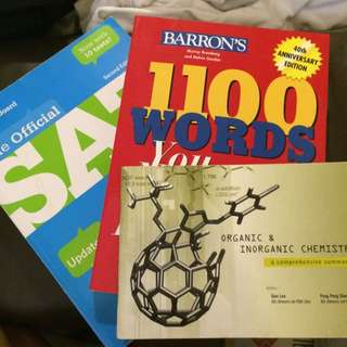 Textbooks: SAT, Barron's 1100 Words, Chemistry