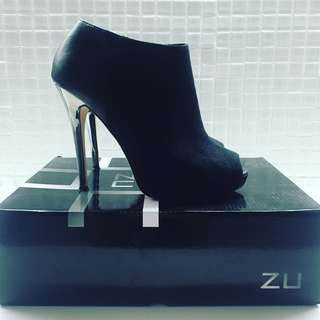 Zu Stiletto Open Toed Ankle Boots