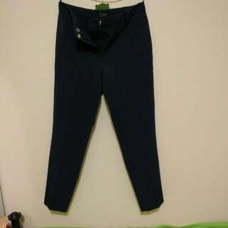 Top Shop Navy Cigarette Work Pants - 8