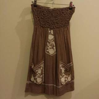 Strapless Angel Biba Brown Summer Dress