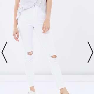 A Brand High Waist White Jeans