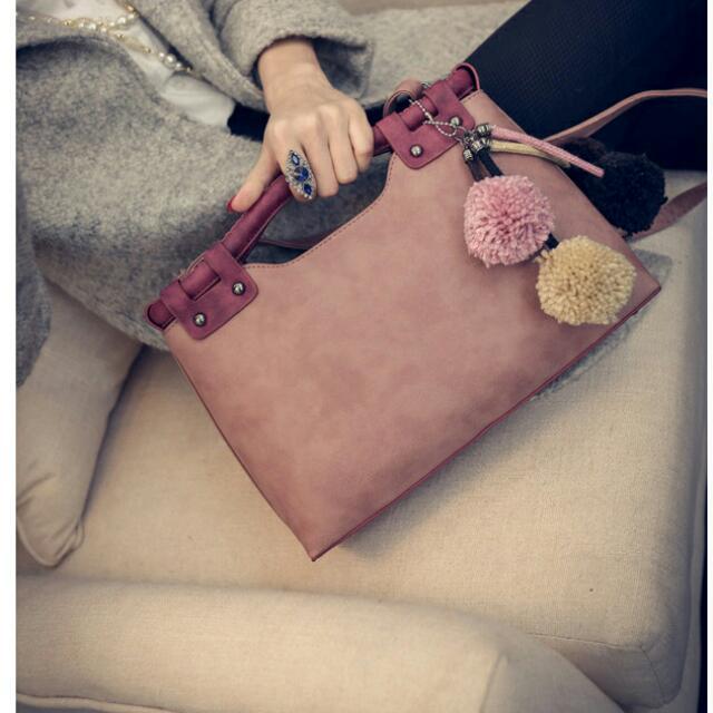 2016日韓時尚手提肩背兩用麂皮托特包gucci Coach Chanel Porter 可參考 -粉紫色