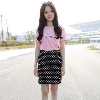 夏裝新款短袖T恤+短裙開叉包臀裙兩件套