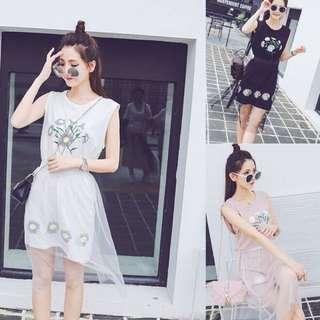 夏季新款清新名族風顯瘦網紗半身裙兩件套