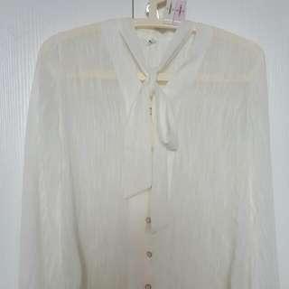 全新正韓襯衫 透白色綁結