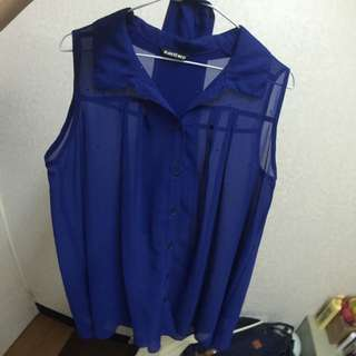 cantwo 寶藍雪紡衫