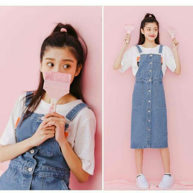 韓國復古中長款牛仔吊帶裙$750 尺寸S到XL
