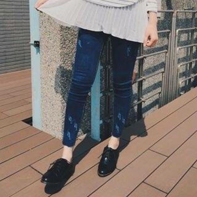原色刷色激瘦褲