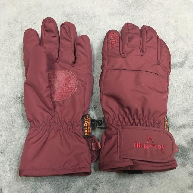 酒紅色防風手套