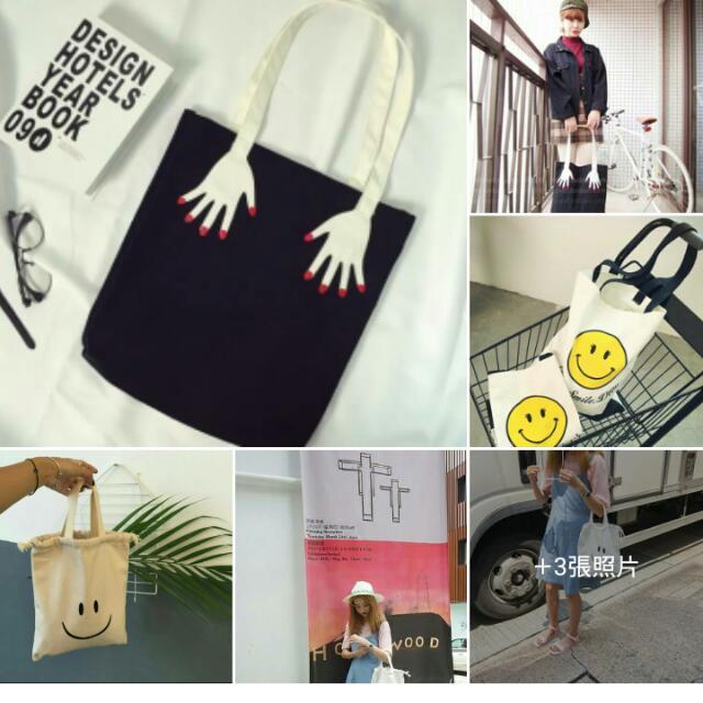 四款『帆布包系列』 💅手指刺繡帆布手提包$250 (smile)韓國微笑帆布包$250 (smile)韓國束口帆布包$299 (貓)米奇兩用帆布包$250
