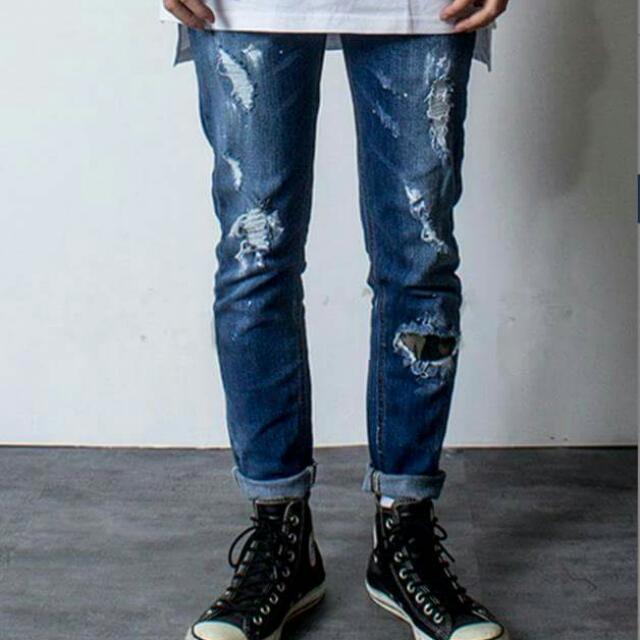 迷彩補丁刷破牛仔褲 男生 刷白