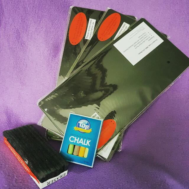 ART SET 3pcs 15x30cm Double Sided Black Board 1 pc blackboard eraser 1 box TOP colored chalk (All brand new)