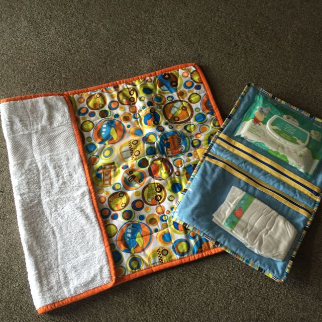 Baby Travel Mat/Towel And Wipe Clutch