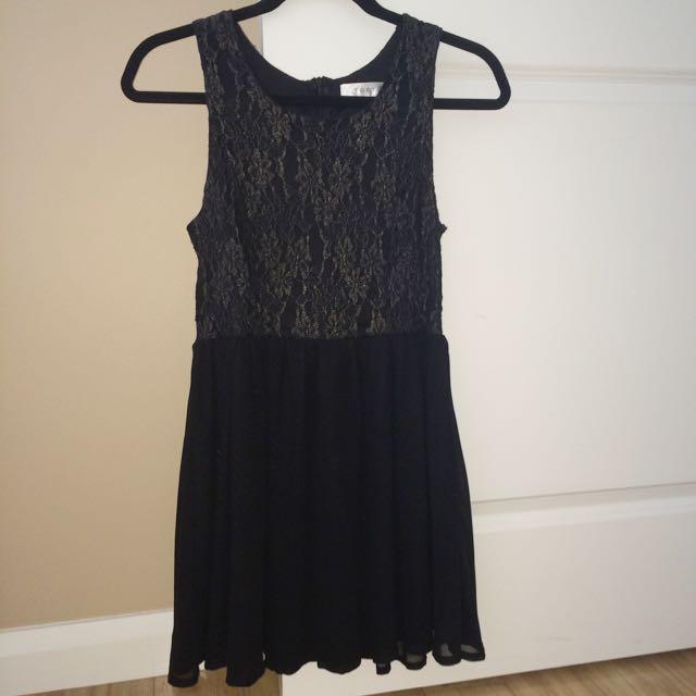 Black With Gold Detailing Skater Dress