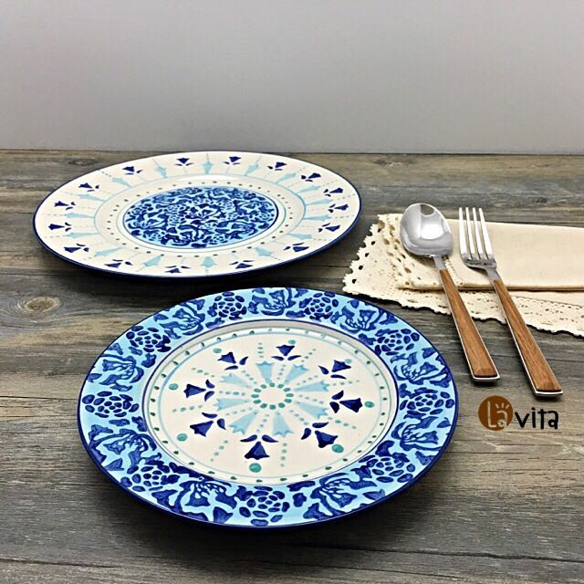 Blue Lily 波蘭瓷 - 純手繪浮雕盤(拆卸式雙層盤架)