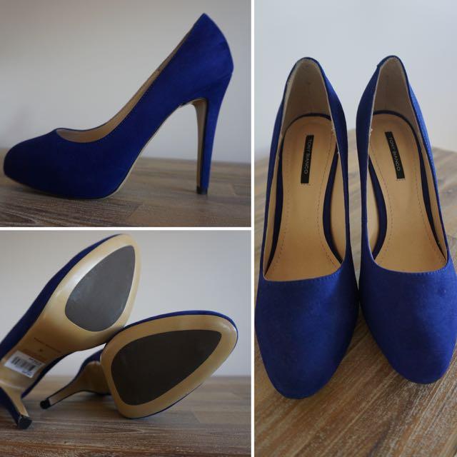 Brand new Tony Bianco Palais Suede Blue Heels
