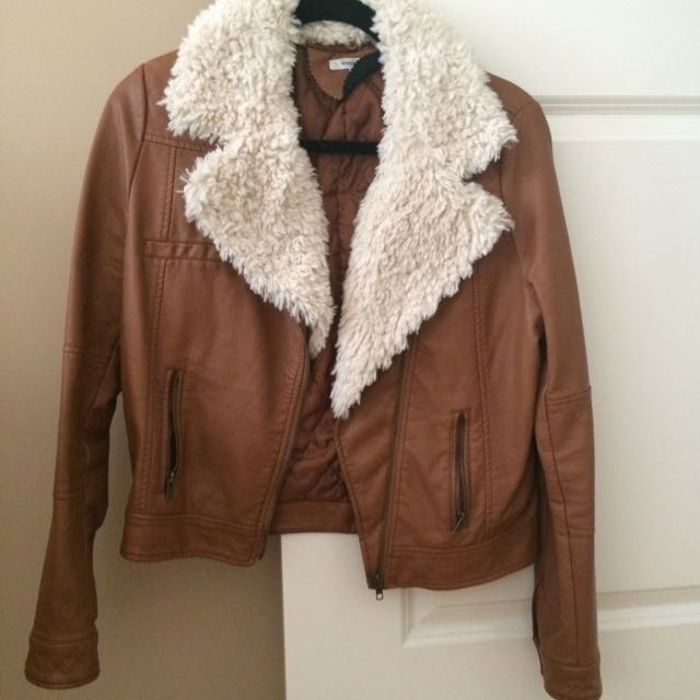 Brown Pu Jacket With Wool Collar