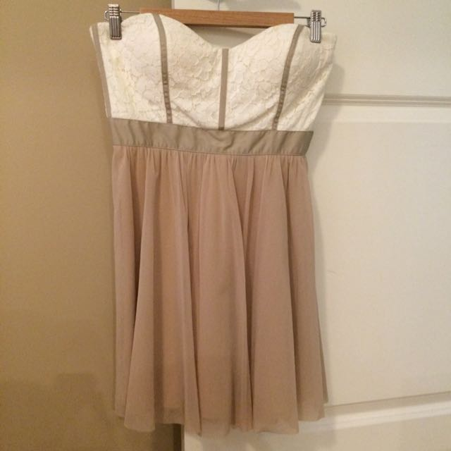 Coffee/ Cream Strapless Lace Dress